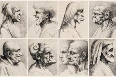 wenzel-hollar-1607–1677-naar-leonardo-da-vinci-1452–1519-karikaturale-koppen-van-mannen-en-vrouwen-etsen-1645.-teylers-museum-haarlem